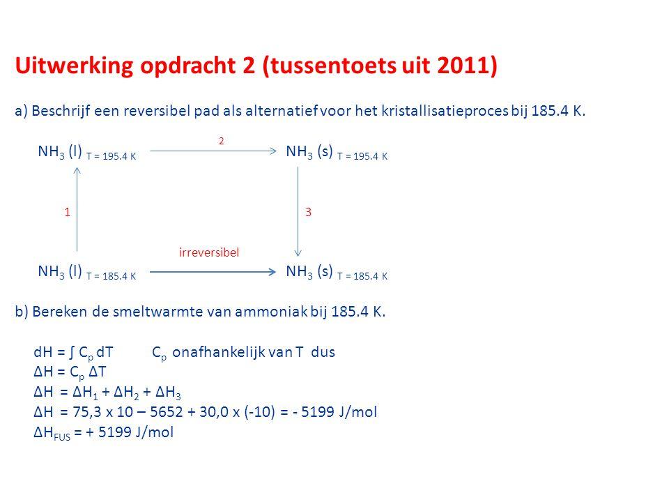 Uitwerking opdracht 2 (tussentoets uit 2011) a) Beschrijf een reversibel pad als alternatief voor het kristallisatieproces bij 185.4 K.