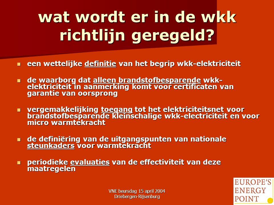 VNE beursdag 15 april 2004 Driebergen-Rijsenburg15 wat wordt er in de wkk richtlijn geregeld.