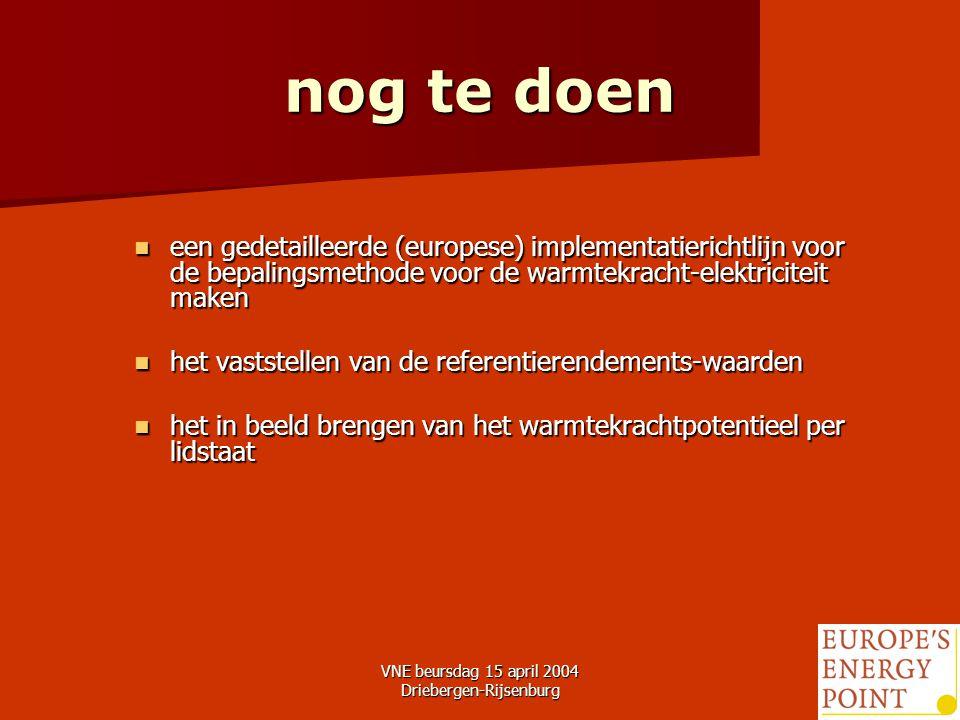 VNE beursdag 15 april 2004 Driebergen-Rijsenburg24 nog te doen een gedetailleerde (europese) implementatierichtlijn voor de bepalingsmethode voor de warmtekracht-elektriciteit maken een gedetailleerde (europese) implementatierichtlijn voor de bepalingsmethode voor de warmtekracht-elektriciteit maken het vaststellen van de referentierendements-waarden het vaststellen van de referentierendements-waarden het in beeld brengen van het warmtekrachtpotentieel per lidstaat het in beeld brengen van het warmtekrachtpotentieel per lidstaat