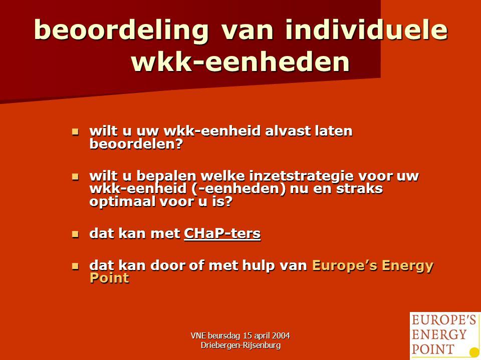 VNE beursdag 15 april 2004 Driebergen-Rijsenburg28 beoordeling van individuele wkk-eenheden wilt u uw wkk-eenheid alvast laten beoordelen.