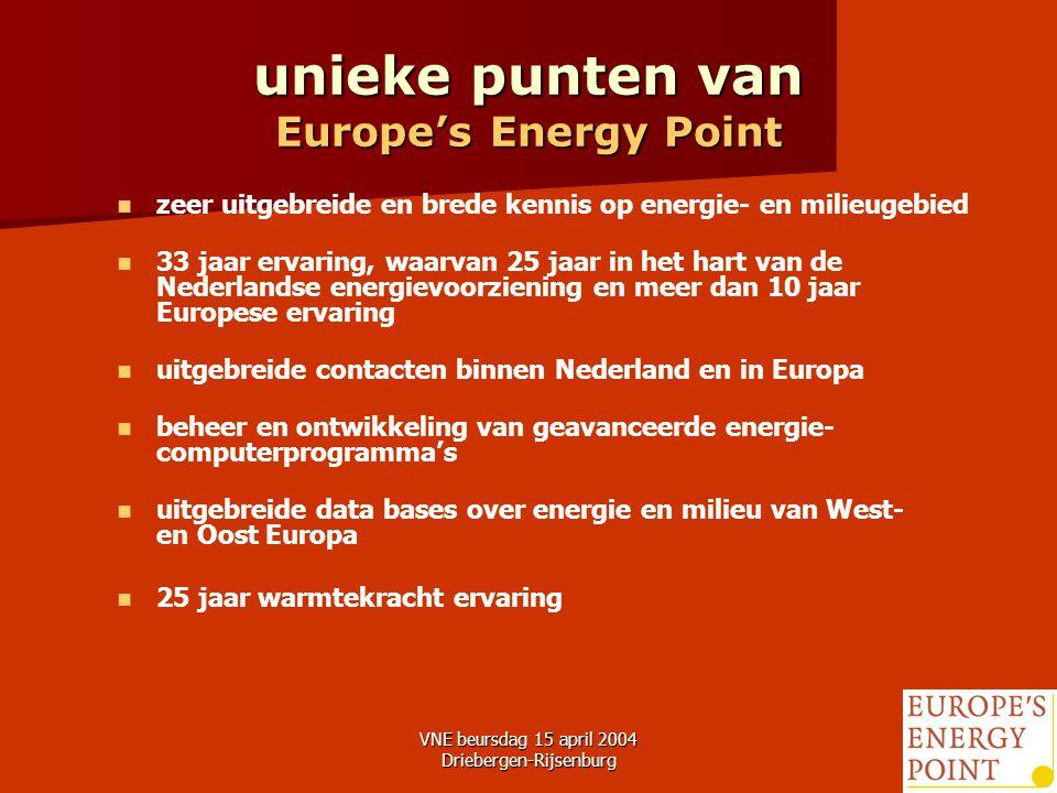 VNE beursdag 15 april 2004 Driebergen-Rijsenburg3 unieke punten van Europe's Energy Point zeer uitgebreide en brede kennis op energie- en milieugebied 33 jaar ervaring, waarvan 25 jaar in het hart van de Nederlandse energievoorziening en meer dan 10 jaar Europese ervaring uitgebreide contacten binnen Nederland en in Europa beheer en ontwikkeling van geavanceerde energie- computerprogramma's uitgebreide data bases over energie en milieu van West- en Oost Europa 25 jaar warmtekracht ervaring