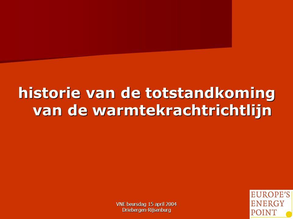 VNE beursdag 15 april 2004 Driebergen-Rijsenburg8 historie van de totstandkoming van de warmtekrachtrichtlijn