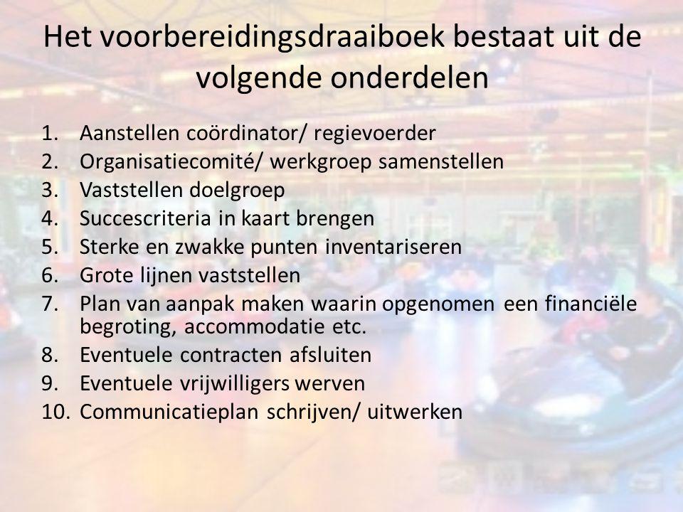 Het voorbereidingsdraaiboek bestaat uit de volgende onderdelen 1.Aanstellen coördinator/ regievoerder 2.Organisatiecomité/ werkgroep samenstellen 3.Va