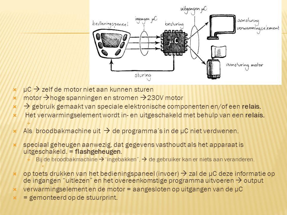  μC  zelf de motor niet aan kunnen sturen  motor  hoge spanningen en stromen  230V motor   gebruik gemaakt van speciale elektronische componenten en/of een relais.