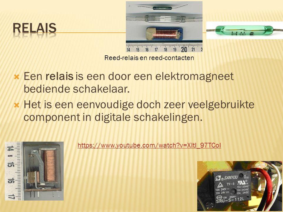  Een relais is een door een elektromagneet bediende schakelaar.