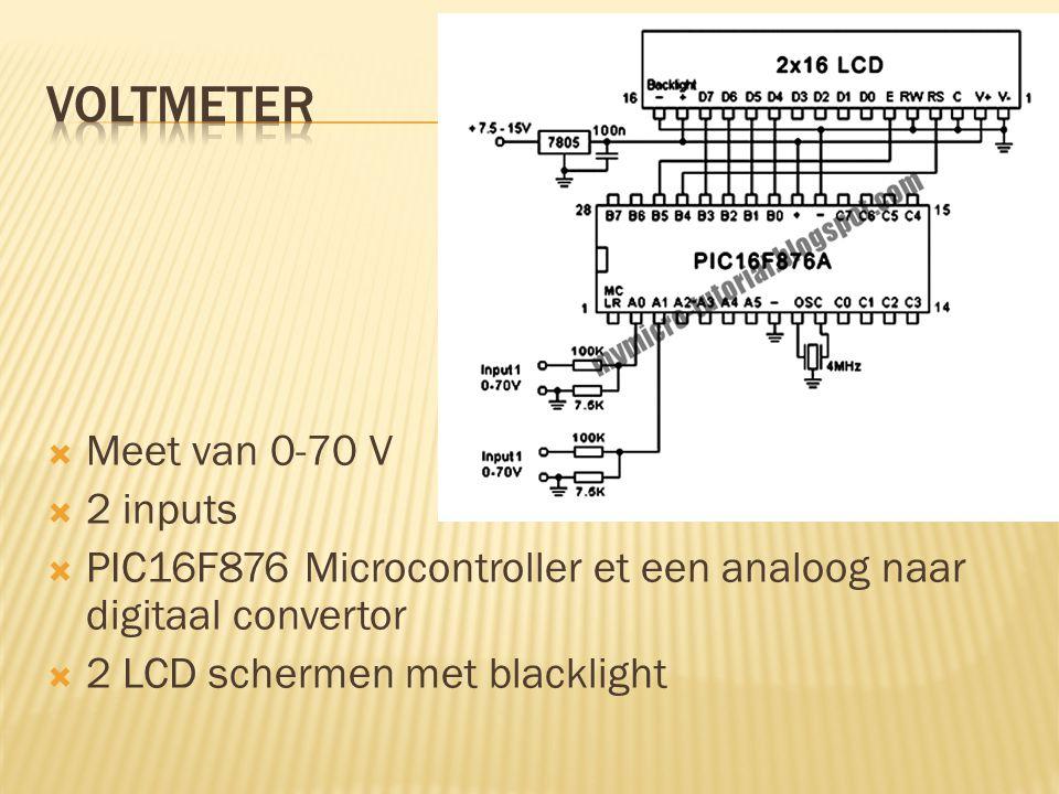  Meet van 0-70 V  2 inputs  PIC16F876 Microcontroller et een analoog naar digitaal convertor  2 LCD schermen met blacklight