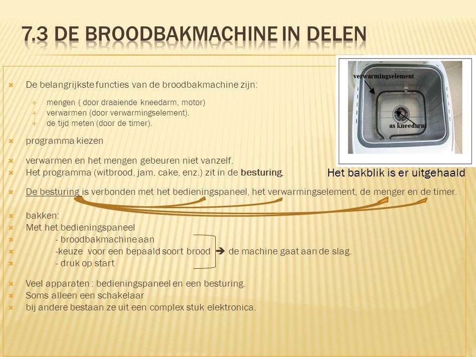  De belangrijkste functies van de broodbakmachine zijn:  mengen ( door draaiende kneedarm, motor)  verwarmen (door verwarmingselement).