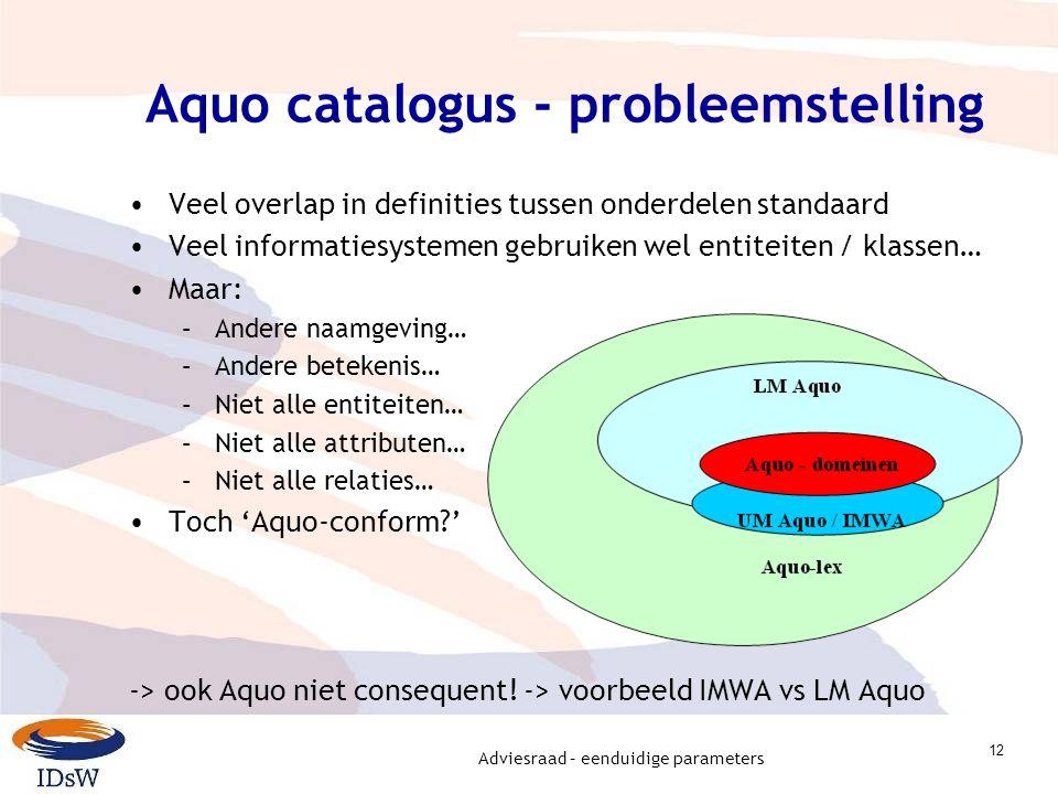 Adviesraad – eenduidige parameters 12 Aquo catalogus - probleemstelling Veel overlap in definities tussen onderdelen standaard Veel informatiesystemen