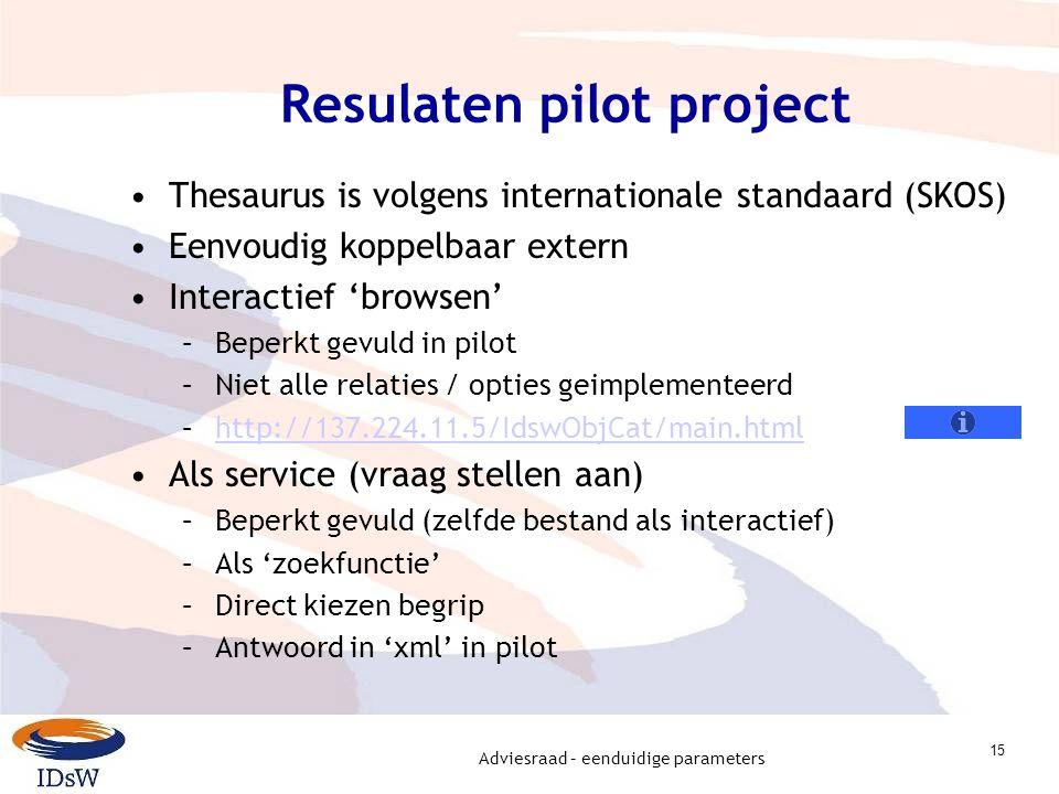 Adviesraad – eenduidige parameters 15 Resulaten pilot project Thesaurus is volgens internationale standaard (SKOS) Eenvoudig koppelbaar extern Interac