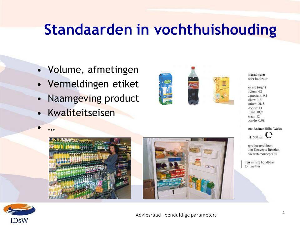 Adviesraad – eenduidige parameters 4 Standaarden in vochthuishouding Volume, afmetingen Vermeldingen etiket Naamgeving product Kwaliteitseisen …