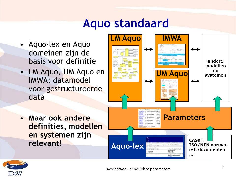 Adviesraad – eenduidige parameters 7 Aquo standaard Aquo-lex en Aquo domeinen zijn de basis voor definitie LM Aquo, UM Aquo en IMWA: datamodel voor gestructureerde data Maar ook andere definities, modellen en systemen zijn relevant.