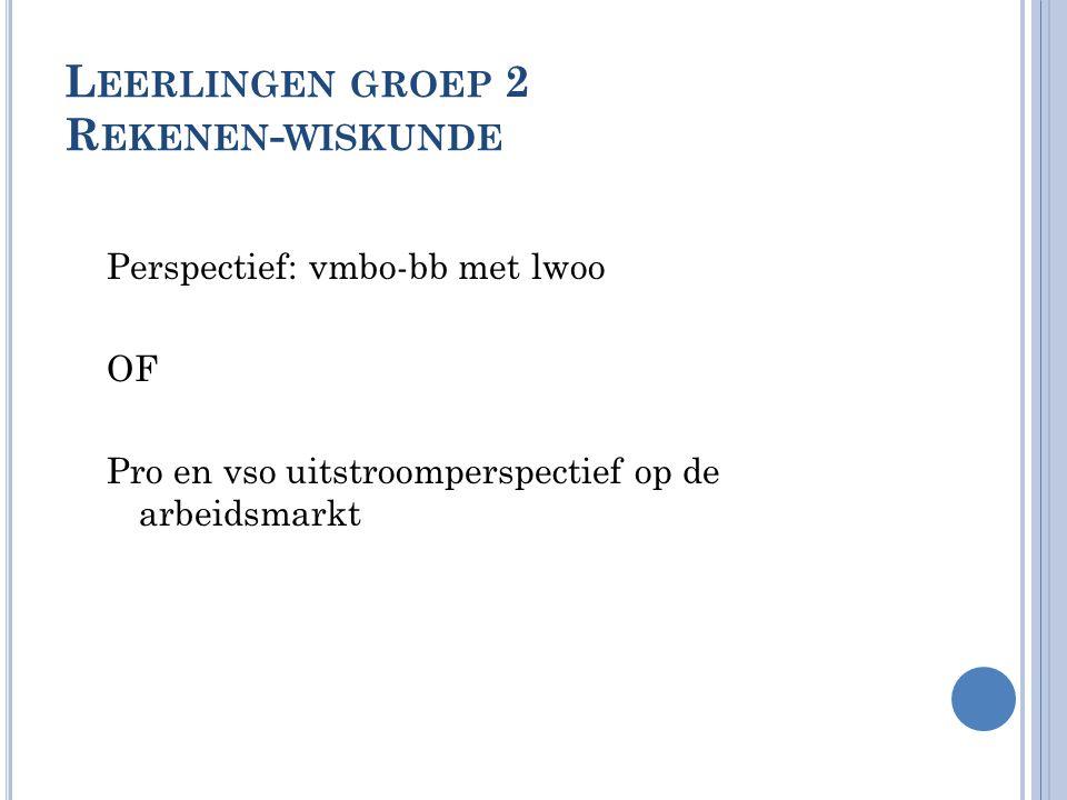 L EERLINGEN GROEP 2 R EKENEN - WISKUNDE Perspectief: vmbo-bb met lwoo OF Pro en vso uitstroomperspectief op de arbeidsmarkt