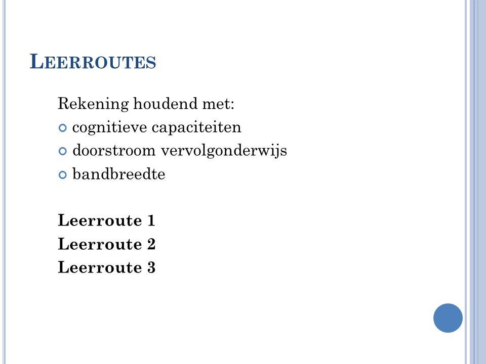 L EERROUTES Rekening houdend met: cognitieve capaciteiten doorstroom vervolgonderwijs bandbreedte Leerroute 1 Leerroute 2 Leerroute 3