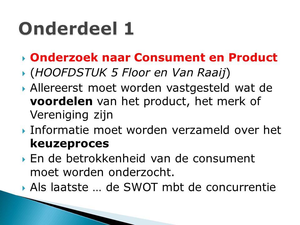  Onderzoek naar Consument en Product  (HOOFDSTUK 5 Floor en Van Raaij)  Allereerst moet worden vastgesteld wat de voordelen van het product, het me