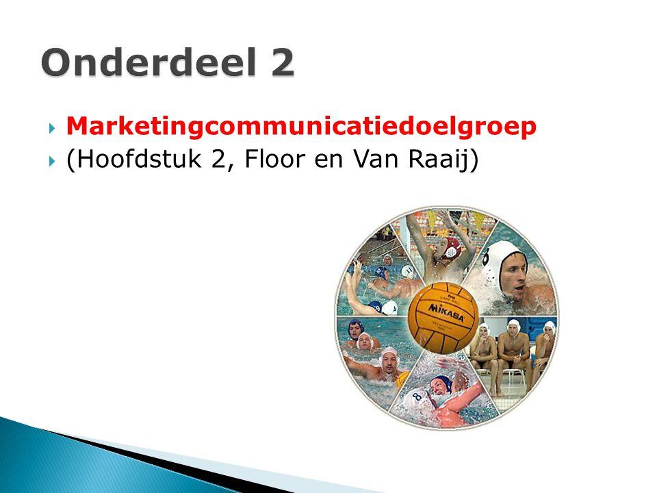  Marketingcommunicatiedoelgroep  (Hoofdstuk 2, Floor en Van Raaij)