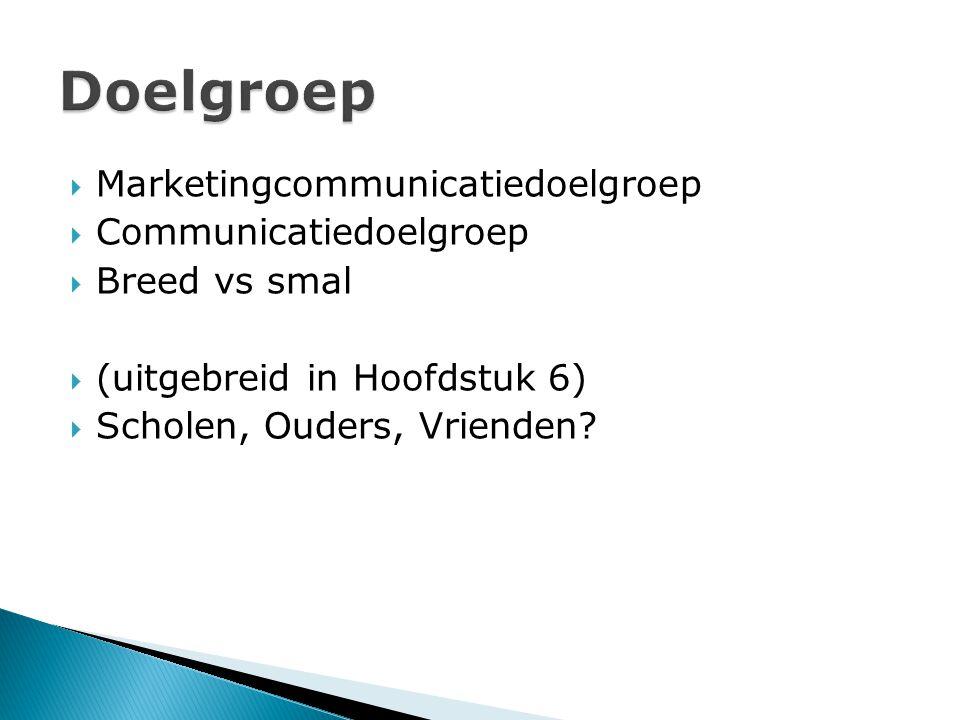  Marketingcommunicatiedoelgroep  Communicatiedoelgroep  Breed vs smal  (uitgebreid in Hoofdstuk 6)  Scholen, Ouders, Vrienden?