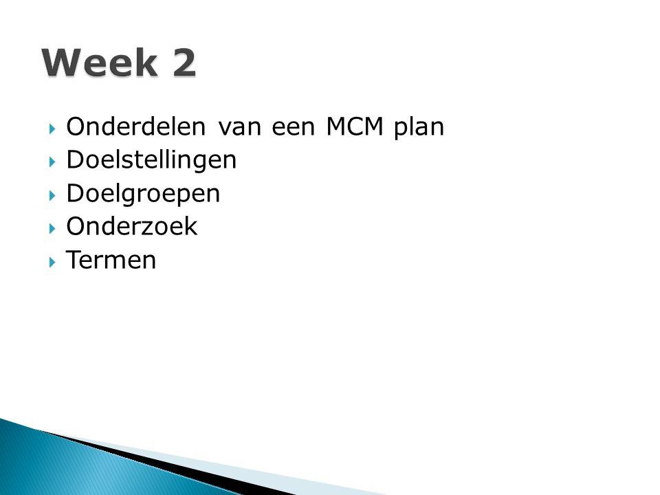  Onderdelen van een MCM plan  Doelstellingen  Doelgroepen  Onderzoek  Termen