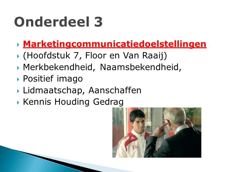  Marketingcommunicatiedoelstellingen  (Hoofdstuk 7, Floor en Van Raaij)  Merkbekendheid, Naamsbekendheid,  Positief imago  Lidmaatschap, Aanschaf