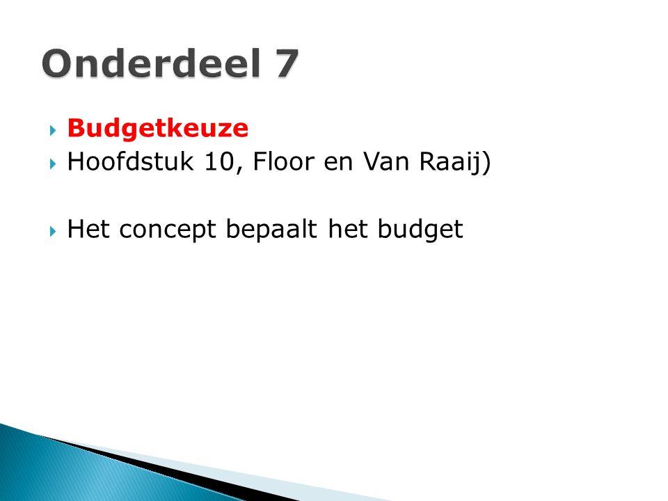  Budgetkeuze  Hoofdstuk 10, Floor en Van Raaij)  Het concept bepaalt het budget