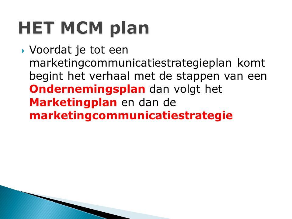  Voordat je tot een marketingcommunicatiestrategieplan komt begint het verhaal met de stappen van een Ondernemingsplan dan volgt het Marketingplan en