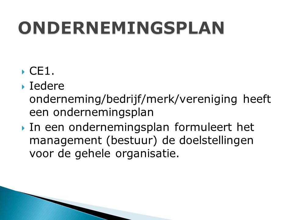  CE1.  Iedere onderneming/bedrijf/merk/vereniging heeft een ondernemingsplan  In een ondernemingsplan formuleert het management (bestuur) de doelst