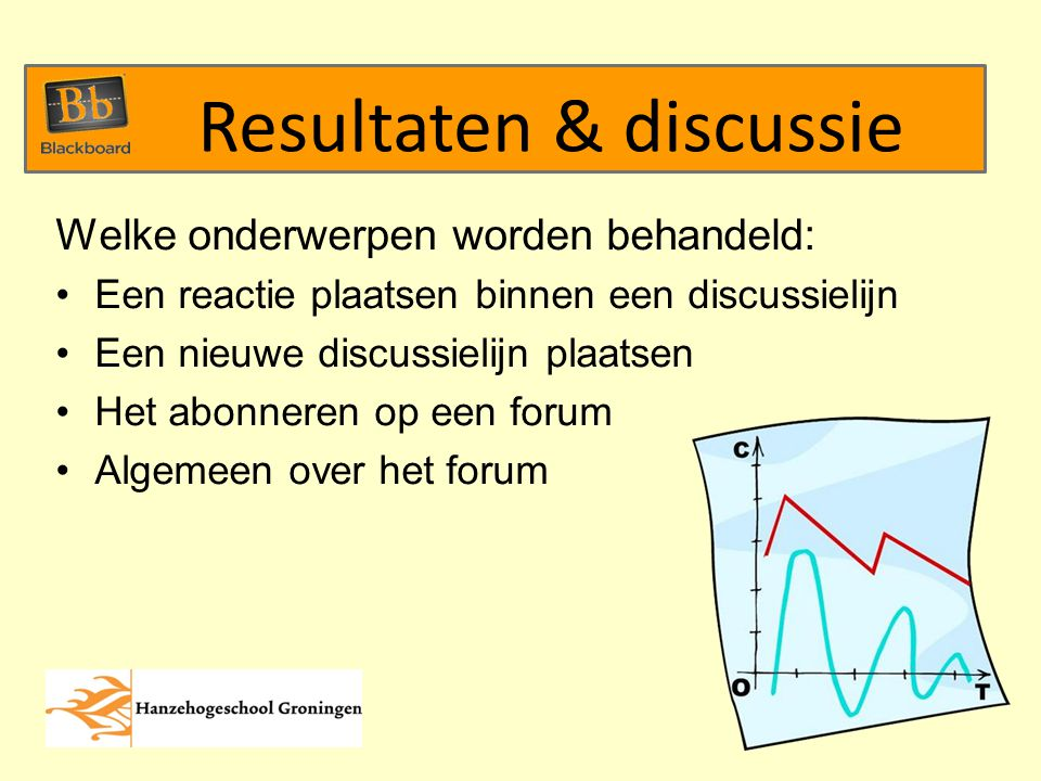 Welke onderwerpen worden behandeld: Een reactie plaatsen binnen een discussielijn Een nieuwe discussielijn plaatsen Het abonneren op een forum Algemeen over het forum Resultaten & discussie