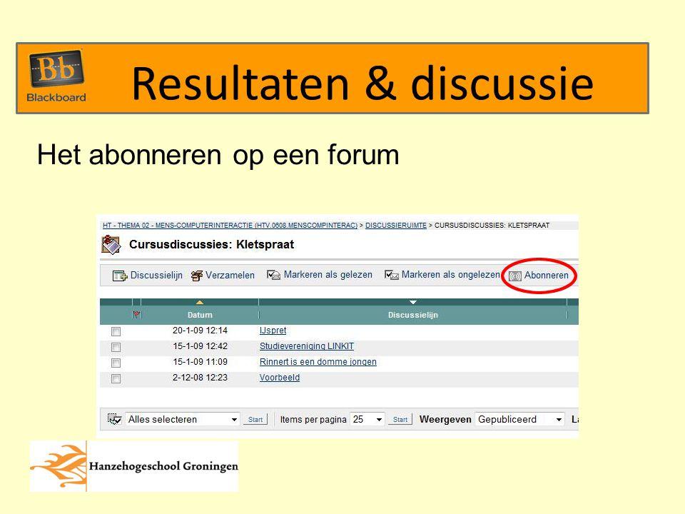 Het abonneren op een forum Resultaten & discussie