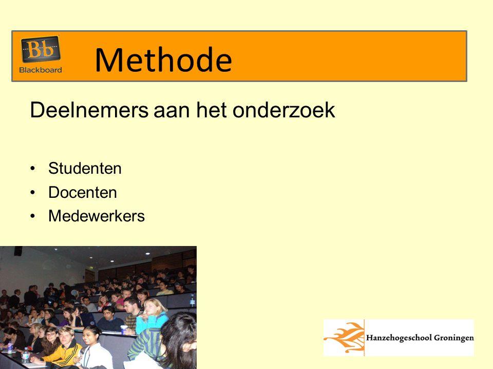 Deelnemers aan het onderzoek Studenten Docenten Medewerkers Methode