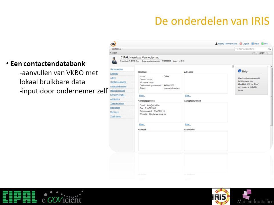 IRIS De onderdelen van IRIS Een contactendatabank -aanvullen van VKBO met lokaal bruikbare data -input door ondernemer zelf