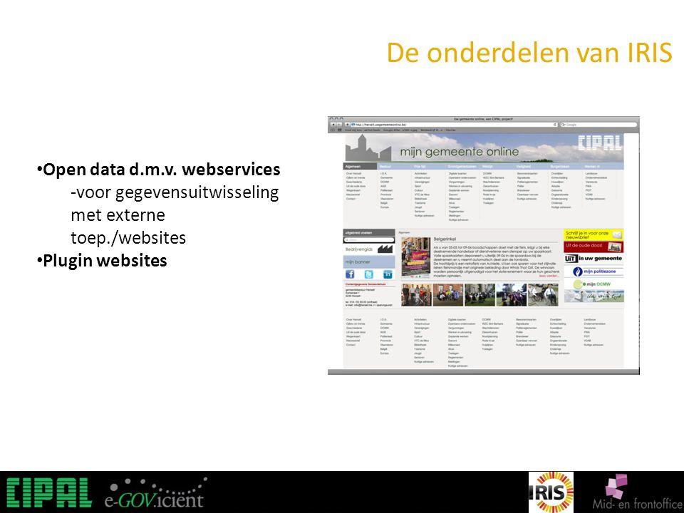 IRIS De onderdelen van IRIS Open data d.m.v.