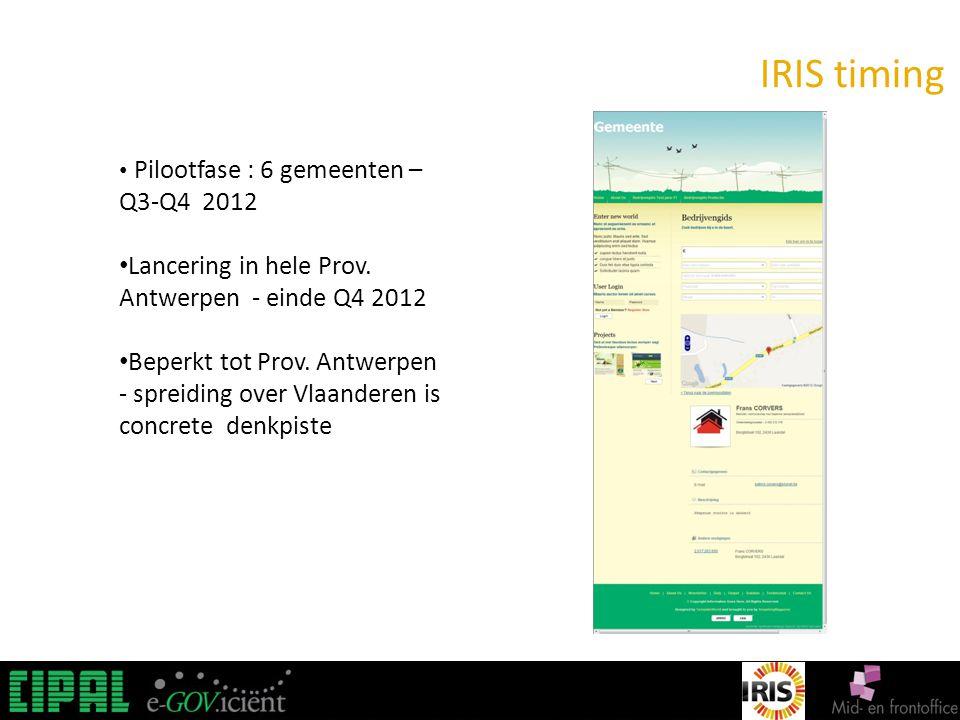 IRIS IRIS timing Pilootfase : 6 gemeenten – Q3-Q4 2012 Lancering in hele Prov.