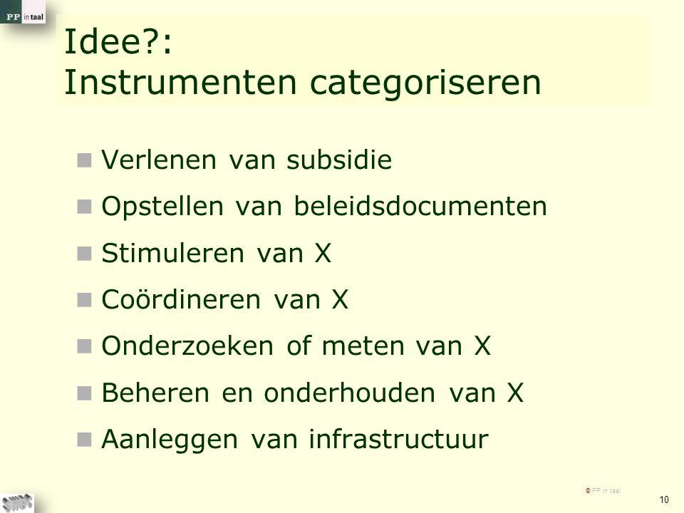 Idee?: Instrumenten categoriseren Verlenen van subsidie Opstellen van beleidsdocumenten Stimuleren van X Coördineren van X Onderzoeken of meten van X