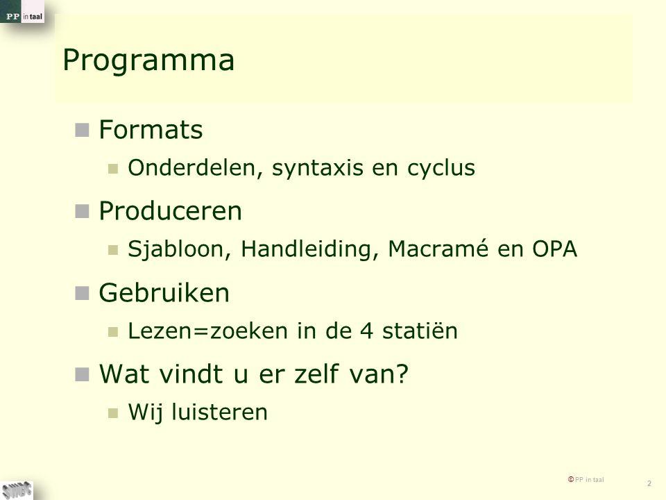 © PP in taal 2 Programma Formats Onderdelen, syntaxis en cyclus Produceren Sjabloon, Handleiding, Macramé en OPA Gebruiken Lezen=zoeken in de 4 statië