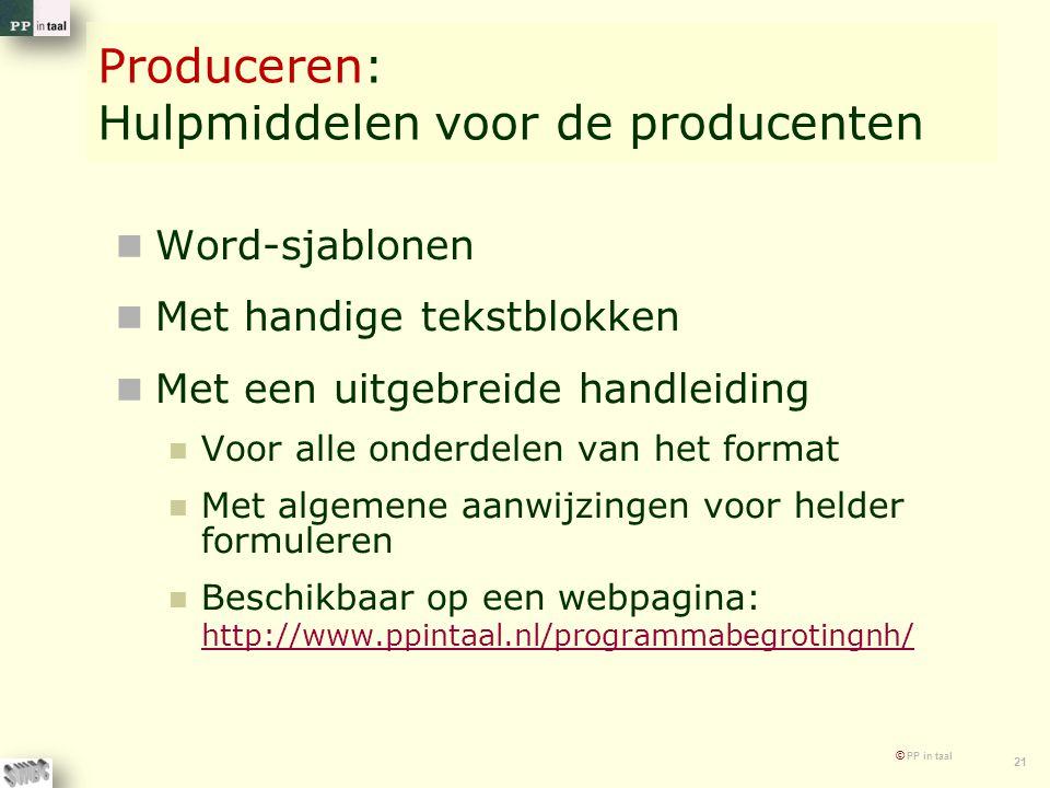 © PP in taal 21 Produceren: Hulpmiddelen voor de producenten Word-sjablonen Met handige tekstblokken Met een uitgebreide handleiding Voor alle onderde