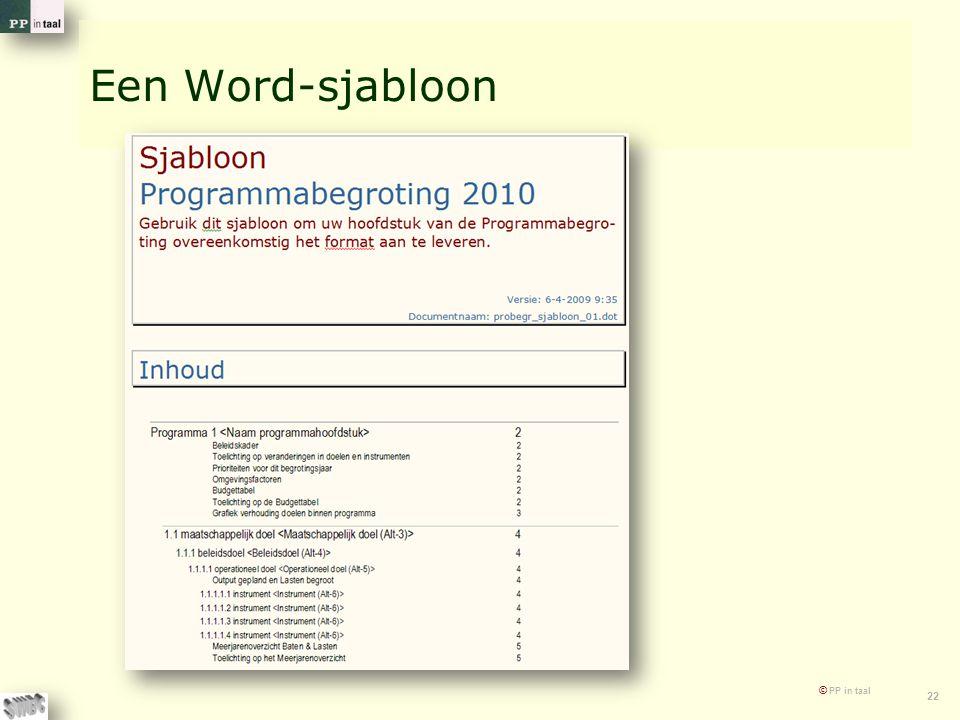 © PP in taal 22 Een Word-sjabloon