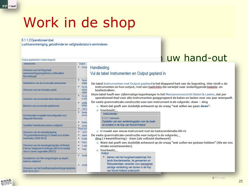 Work in de shop Wilt u de tabel uit 2010 in uw hand-out eens kritisch beschouwen? En waar gewenst aanpassen Gebruikt u alstublieft de handleiding, ook