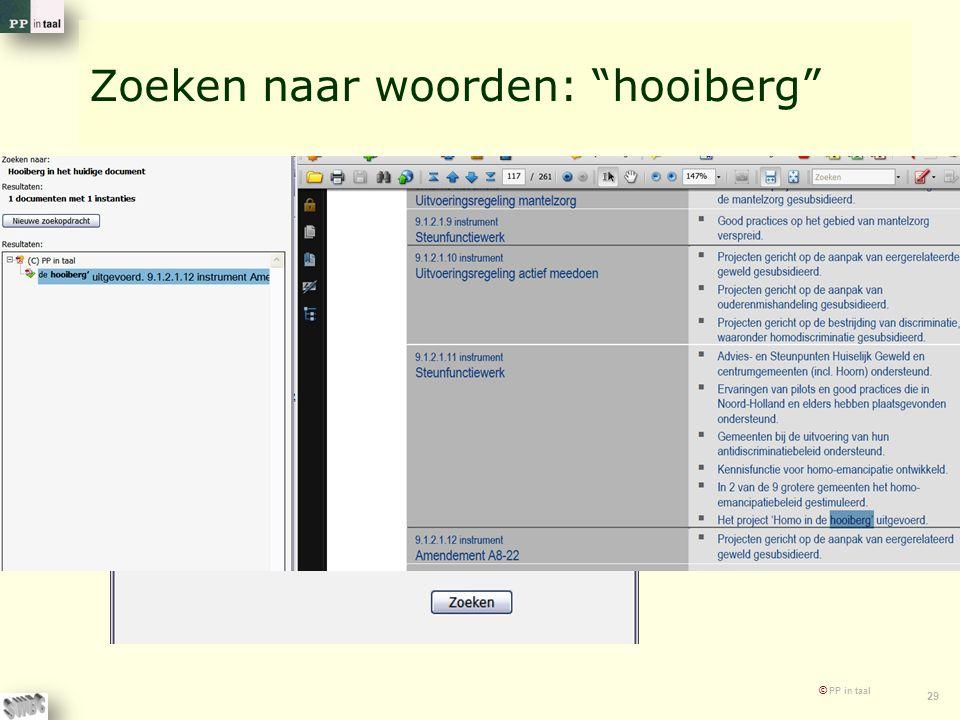 """© PP in taal 29 Zoeken naar woorden: """"hooiberg"""""""