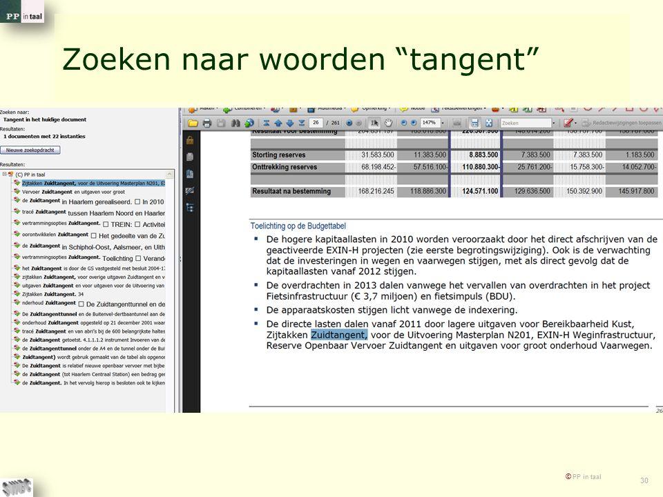 """© PP in taal 30 Zoeken naar woorden """"tangent"""""""