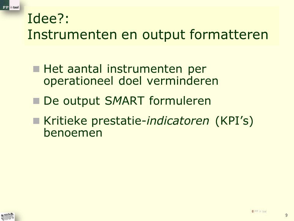 Idee?: Instrumenten en output formatteren Het aantal instrumenten per operationeel doel verminderen De output SMART formuleren Kritieke prestatie-indi