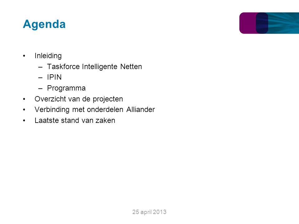 Agenda Inleiding –Taskforce Intelligente Netten –IPIN –Programma Overzicht van de projecten Verbinding met onderdelen Alliander Laatste stand van zake
