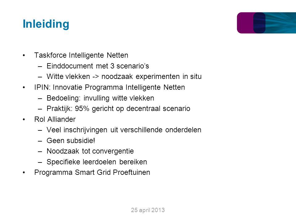 Inleiding Taskforce Intelligente Netten –Einddocument met 3 scenario's –Witte vlekken -> noodzaak experimenten in situ IPIN: Innovatie Programma Intel
