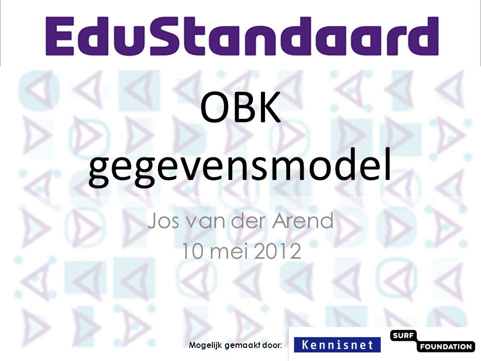 OBK gegevensmodel Jos van der Arend 10 mei 2012 Mogelijk gemaakt door: