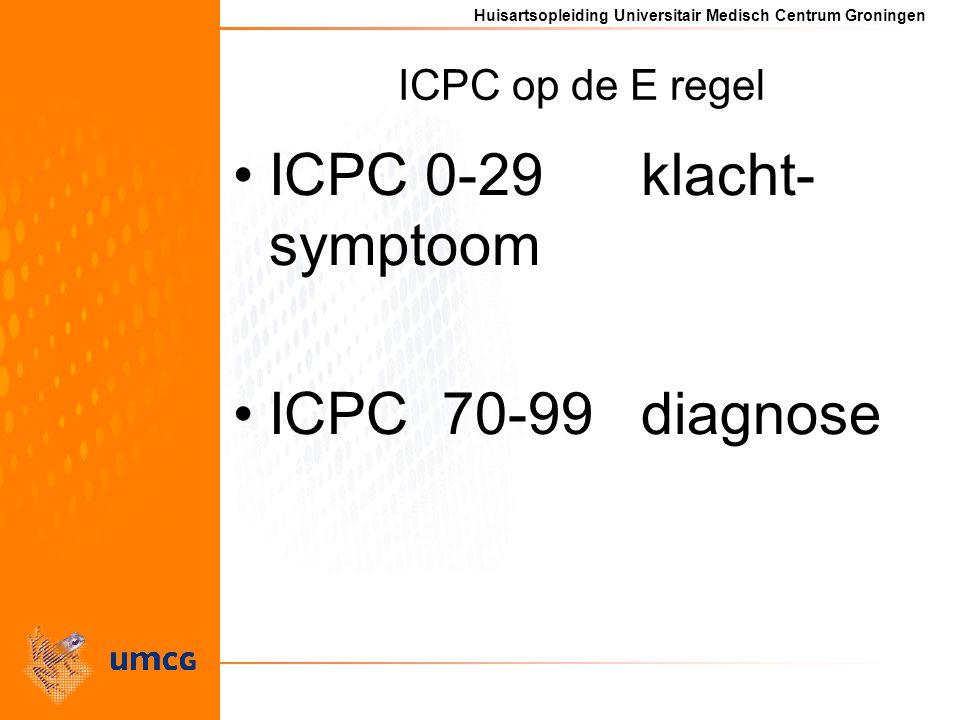 Huisartsopleiding Universitair Medisch Centrum Groningen ICPC op de E regel ICPC 0-29 klacht- symptoom ICPC 70-99 diagnose