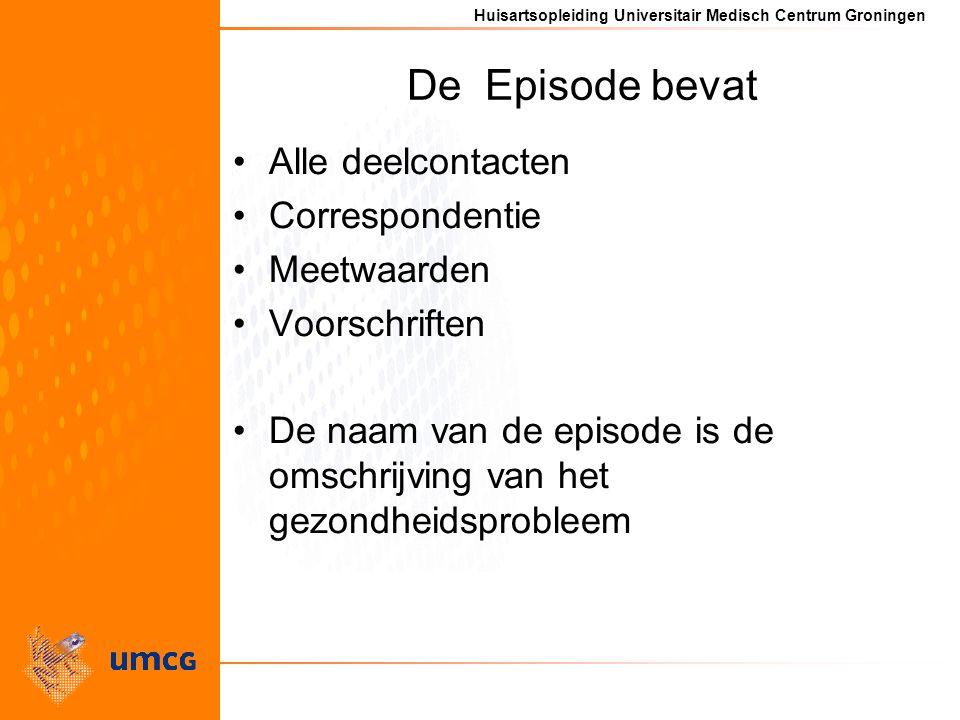 Huisartsopleiding Universitair Medisch Centrum Groningen De Episode bevat Alle deelcontacten Correspondentie Meetwaarden Voorschriften De naam van de episode is de omschrijving van het gezondheidsprobleem