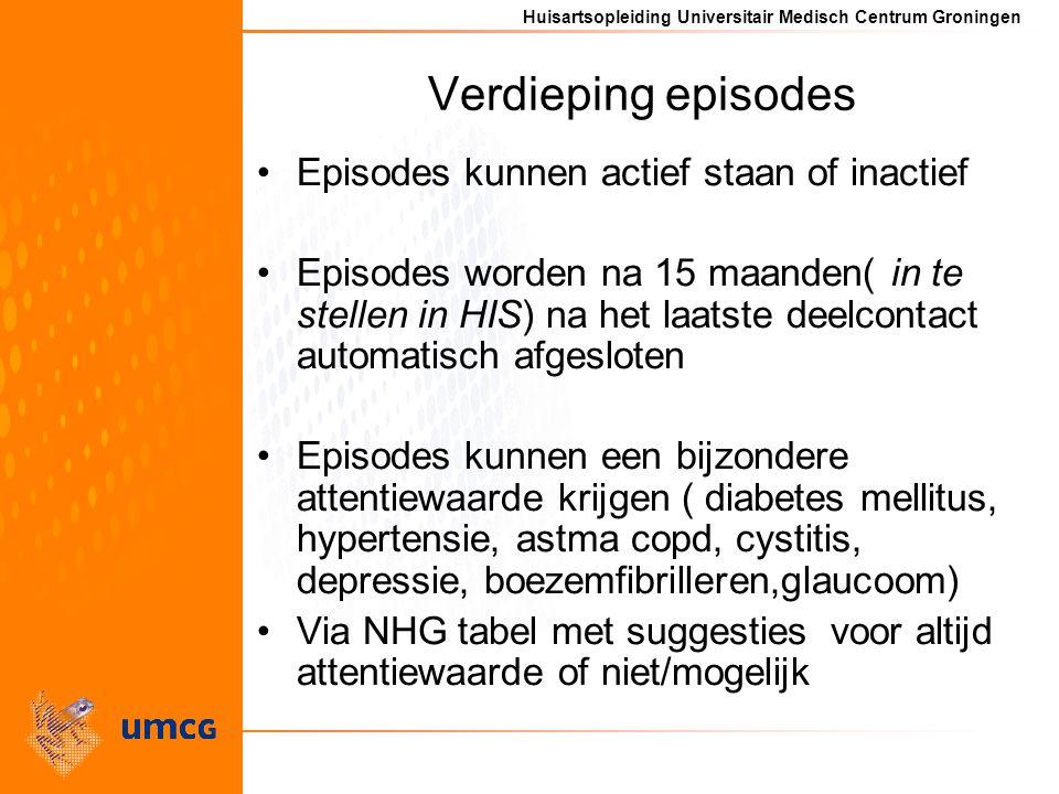Huisartsopleiding Universitair Medisch Centrum Groningen Verdieping episodes Episodes kunnen actief staan of inactief Episodes worden na 15 maanden( i