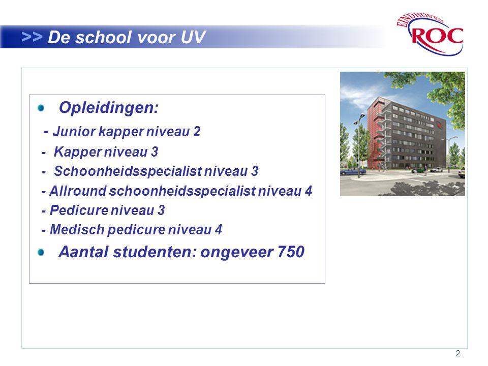 2 >> De school voor UV Opleidingen: - Junior kapper niveau 2 - Kapper niveau 3 - Schoonheidsspecialist niveau 3 - Allround schoonheidsspecialist niveau 4 - Pedicure niveau 3 - Medisch pedicure niveau 4 Aantal studenten: ongeveer 750