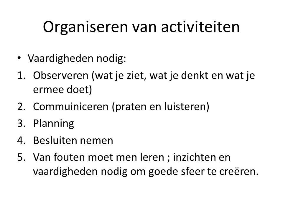 Organiseren van activiteiten Vaardigheden nodig: 1.Observeren (wat je ziet, wat je denkt en wat je ermee doet) 2.Commuiniceren (praten en luisteren) 3