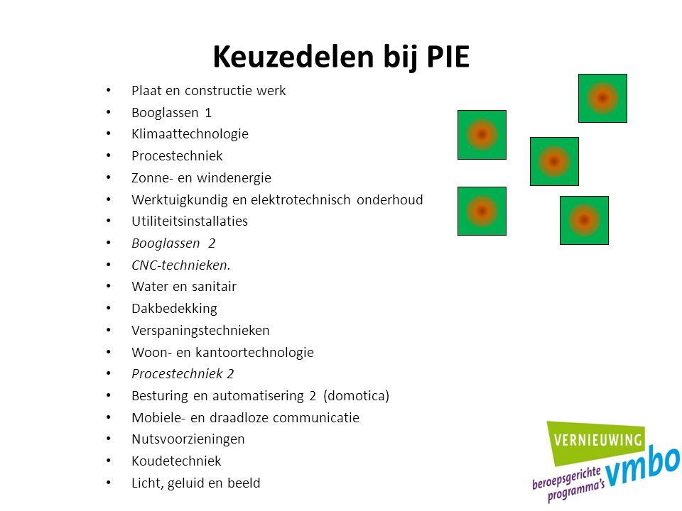 Keuzedelen bij PIE Plaat en constructie werk Booglassen 1 Klimaattechnologie Procestechniek Zonne- en windenergie Werktuigkundig en elektrotechnisch o