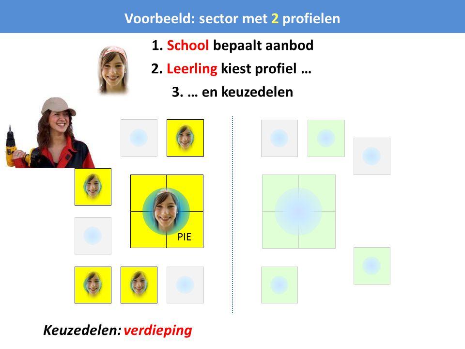 PIE Voorbeeld: sector met 2 profielen 1. School bepaalt aanbod 2. Leerling kiest profiel … 3. … en keuzedelen Keuzedelen: verdieping