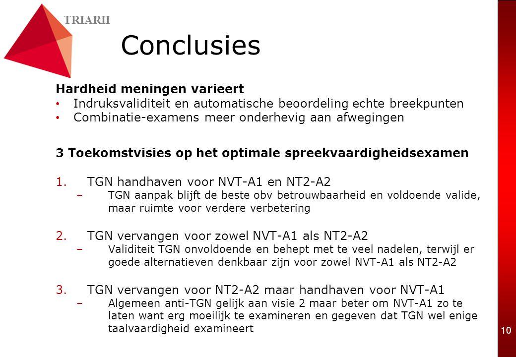 TRIARII 10 Conclusies Hardheid meningen varieert Indruksvaliditeit en automatische beoordeling echte breekpunten Combinatie-examens meer onderhevig aan afwegingen 3 Toekomstvisies op het optimale spreekvaardigheidsexamen 1.TGN handhaven voor NVT-A1 en NT2-A2 –TGN aanpak blijft de beste obv betrouwbaarheid en voldoende valide, maar ruimte voor verdere verbetering 2.TGN vervangen voor zowel NVT-A1 als NT2-A2 –Validiteit TGN onvoldoende en behept met te veel nadelen, terwijl er goede alternatieven denkbaar zijn voor zowel NVT-A1 als NT2-A2 3.TGN vervangen voor NT2-A2 maar handhaven voor NVT-A1 –Algemeen anti-TGN gelijk aan visie 2 maar beter om NVT-A1 zo te laten want erg moeilijk te examineren en gegeven dat TGN wel enige taalvaardigheid examineert